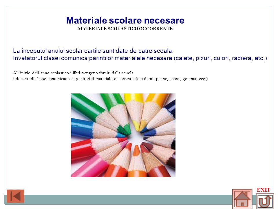 Materiale scolastico occorrente