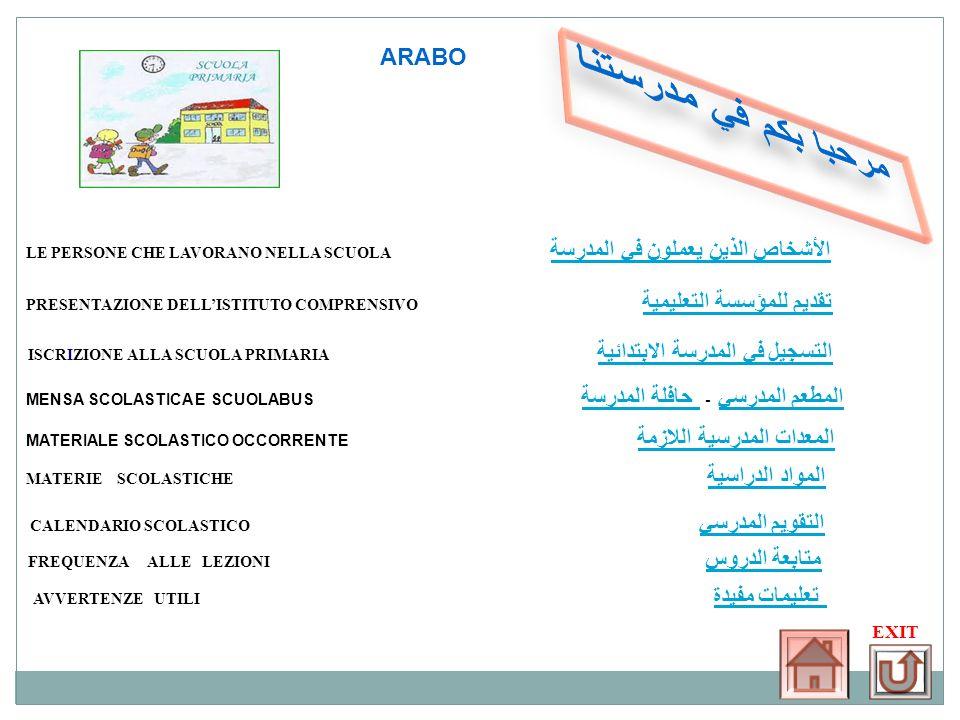 مرحبا بكم في مدرستنا ARABO AVVERTENZE UTILI تعليمات مفيدة