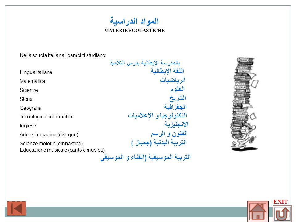 المواد الدراسية بالمدرسة الإيطالية يدرس التلاميذ