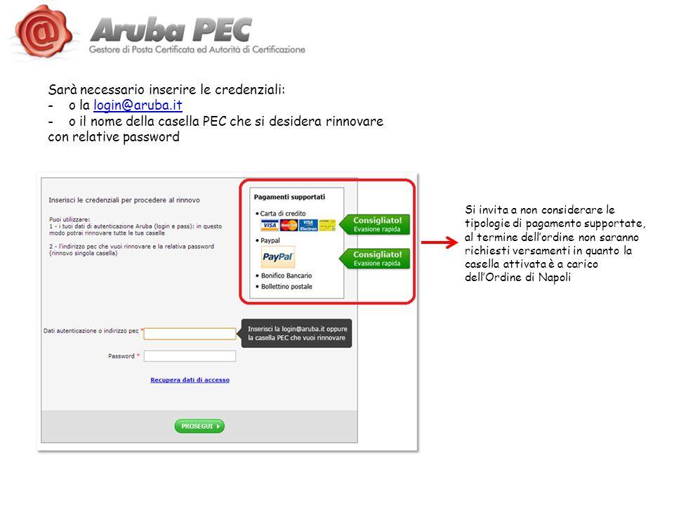 Sarà necessario inserire le credenziali: o la login@aruba.it