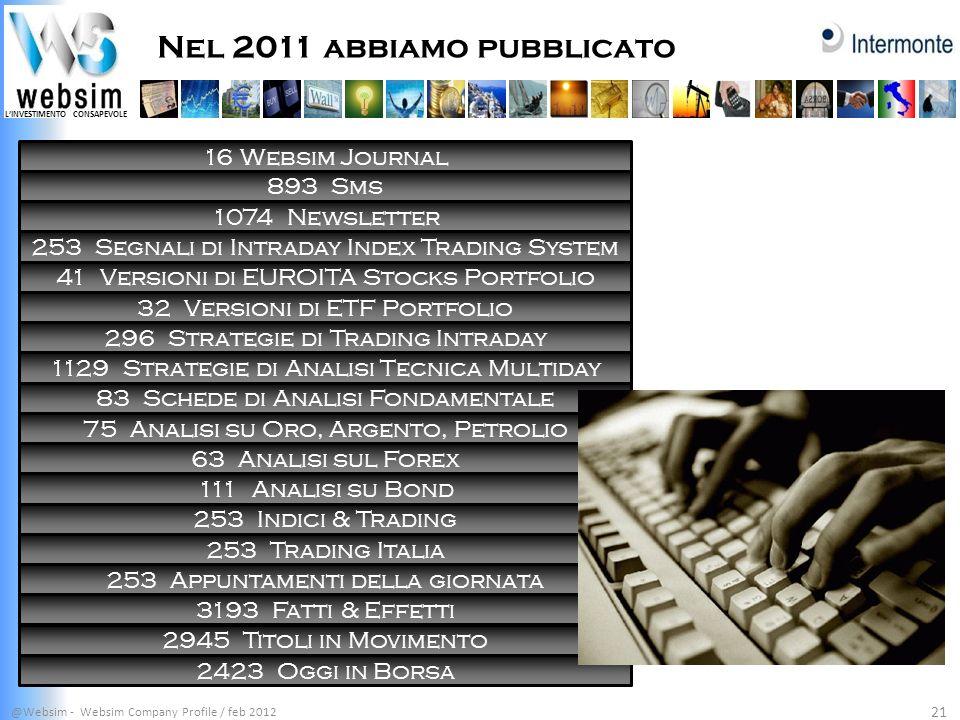 Nel 2011 abbiamo pubblicato