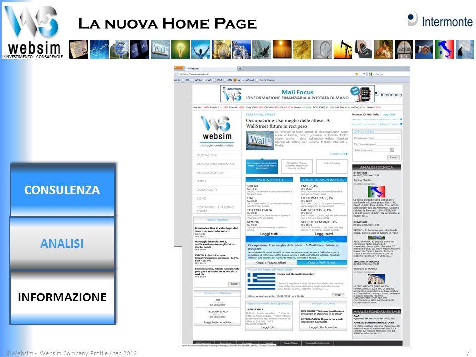 La nuova Home Page CONSULENZA ANALISI INFORMAZIONE