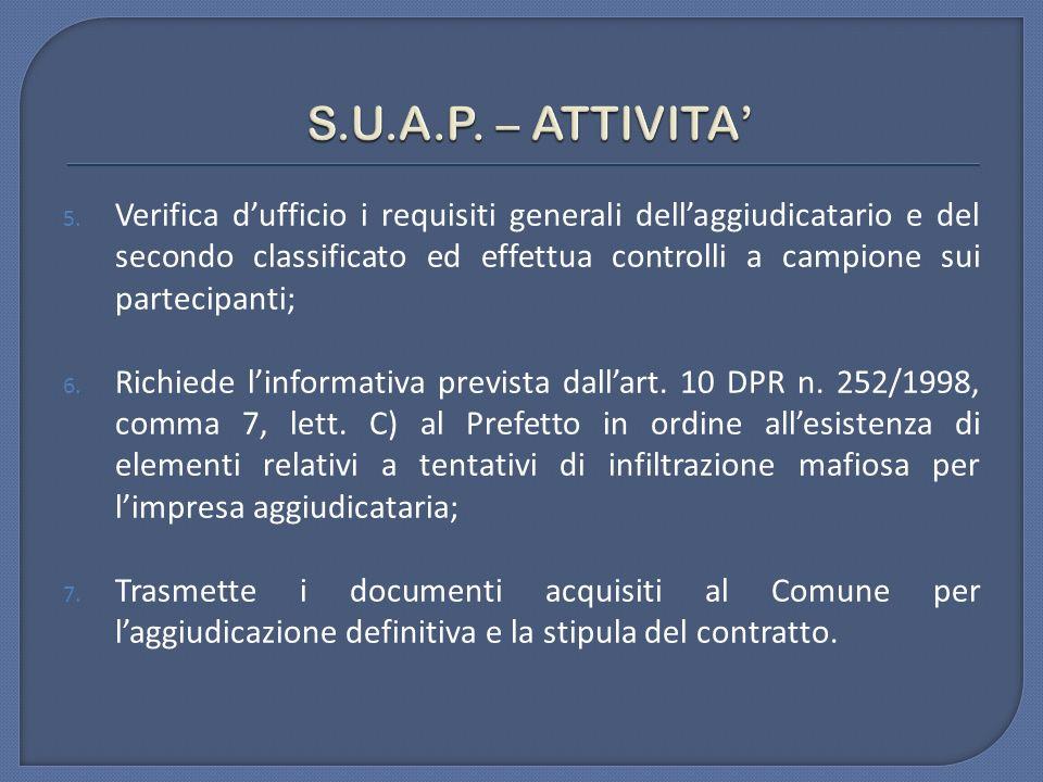 S.U.A.P. – ATTIVITA'