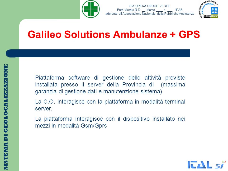 Galileo Solutions Ambulanze + GPS