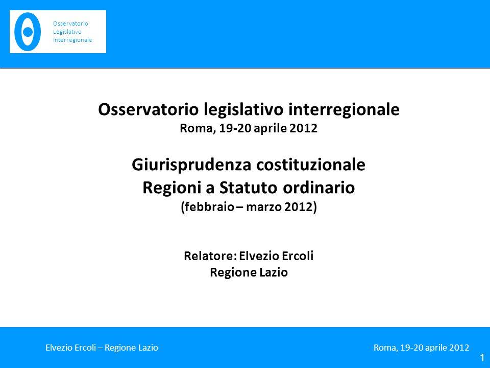 Osservatorio legislativo interregionale Giurisprudenza costituzionale