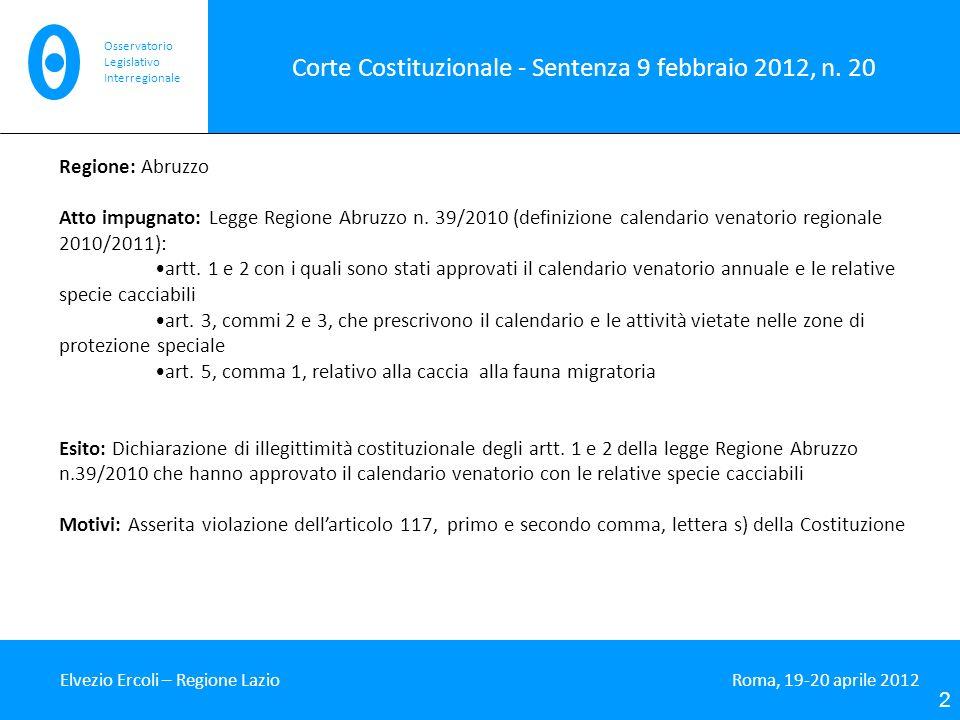 Corte Costituzionale - Sentenza 9 febbraio 2012, n. 20