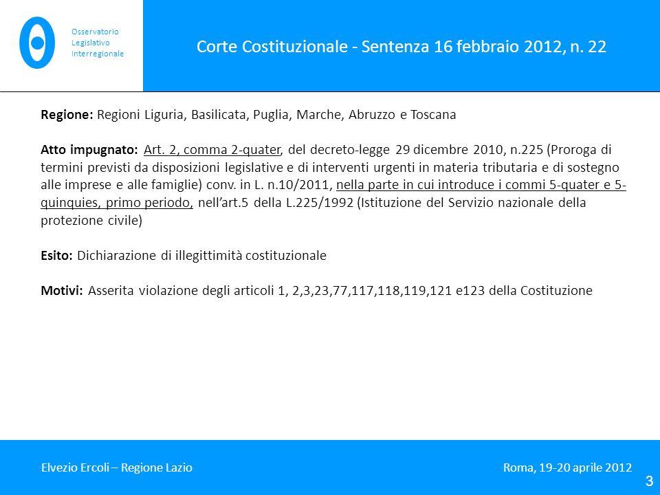 Corte Costituzionale - Sentenza 16 febbraio 2012, n. 22