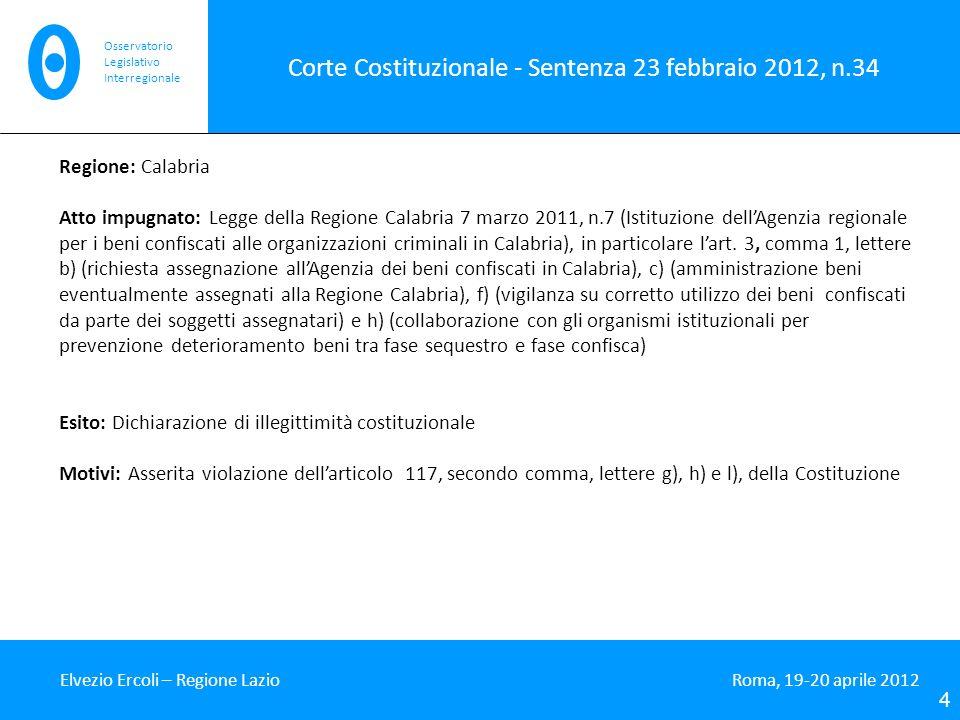 Corte Costituzionale - Sentenza 23 febbraio 2012, n.34
