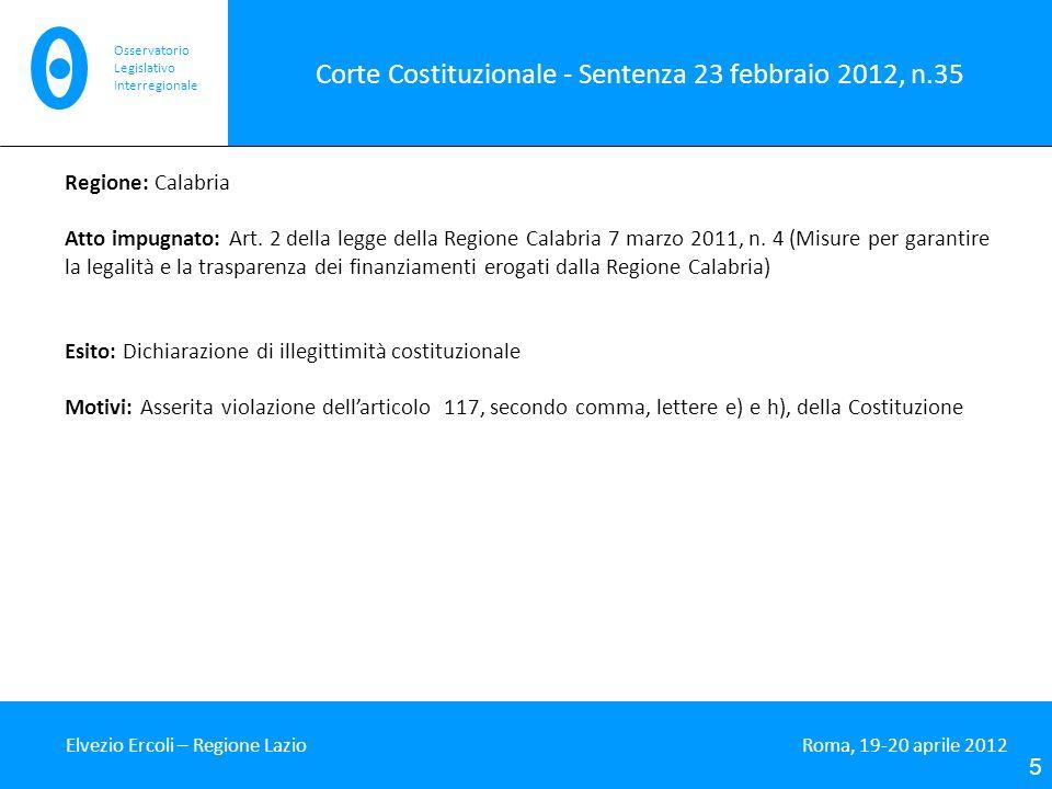 Corte Costituzionale - Sentenza 23 febbraio 2012, n.35