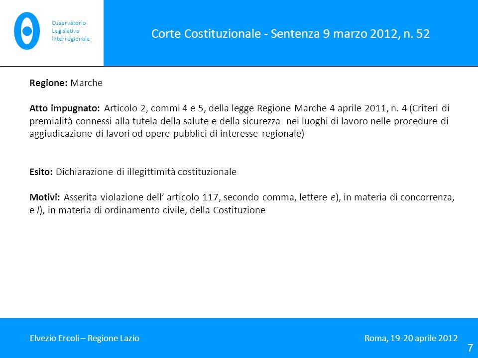 Corte Costituzionale - Sentenza 9 marzo 2012, n. 52