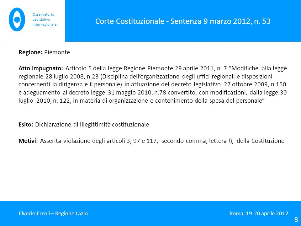 Corte Costituzionale - Sentenza 9 marzo 2012, n. 53