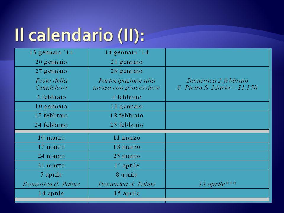 Il calendario (II):
