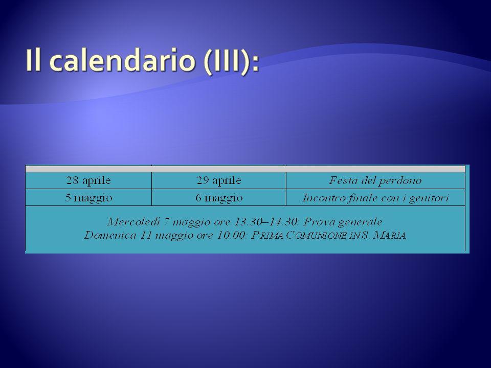 Il calendario (III):