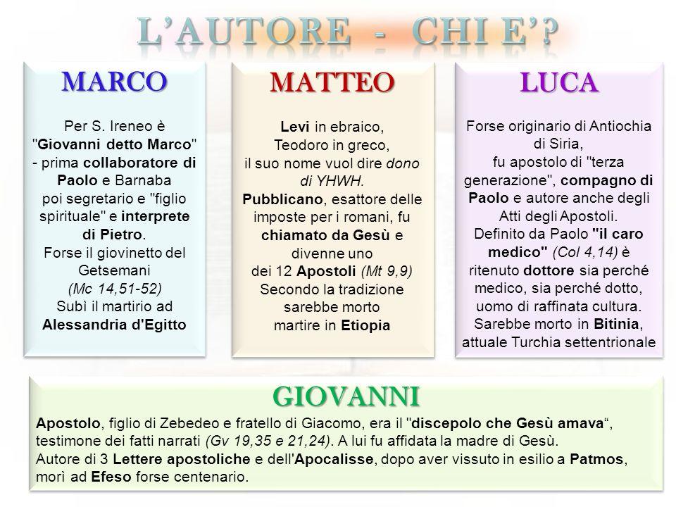 L'Autore - chi e' MARCO MATTEO LUCA GIOVANNI
