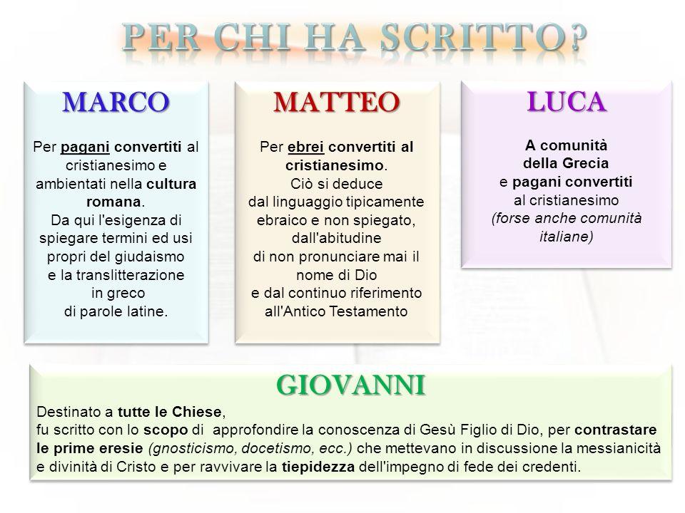 Per chi ha scritto MARCO MATTEO LUCA GIOVANNI