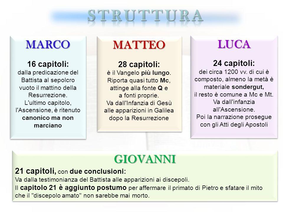 STRUTTURA MARCO MATTEO LUCA GIOVANNI 16 capitoli: 28 capitoli: