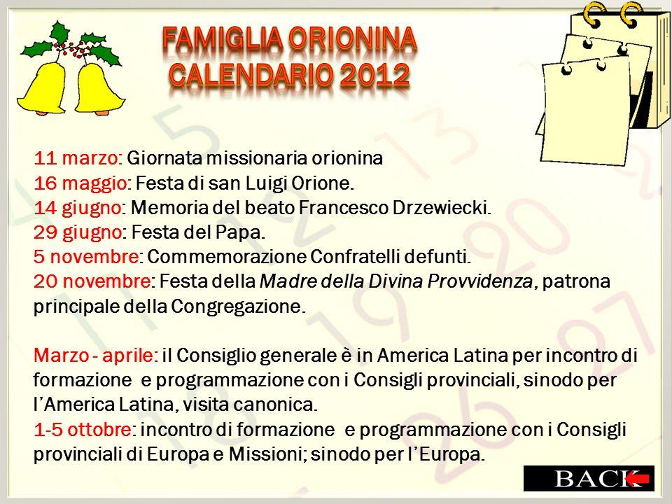 FAMIGLIA ORIONINA CALENDARIO 2012