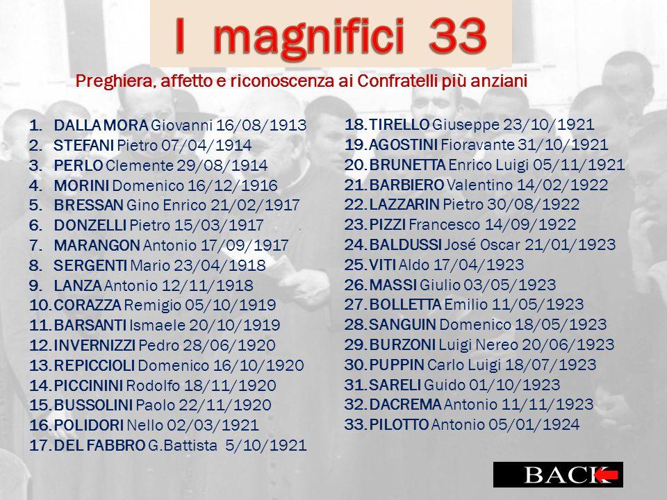I magnifici 33 Preghiera, affetto e riconoscenza ai Confratelli più anziani. DALLA MORA Giovanni 16/08/1913.