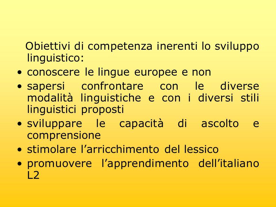 Obiettivi di competenza inerenti lo sviluppo linguistico: