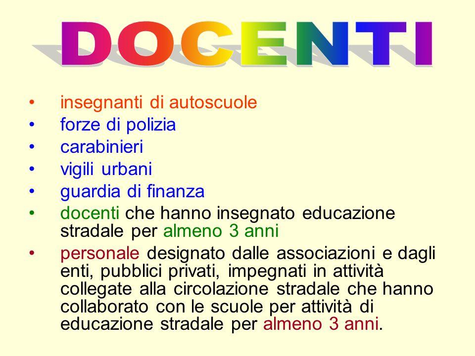 DOCENTI insegnanti di autoscuole forze di polizia carabinieri