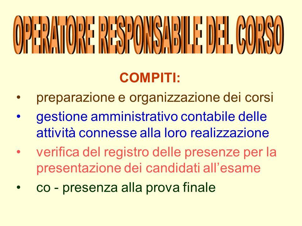 OPERATORE RESPONSABILE DEL CORSO