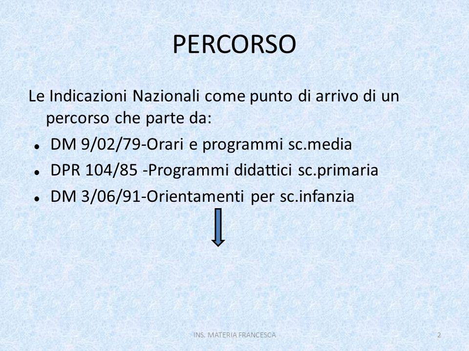 PERCORSO Le Indicazioni Nazionali come punto di arrivo di un percorso che parte da: DM 9/02/79-Orari e programmi sc.media.