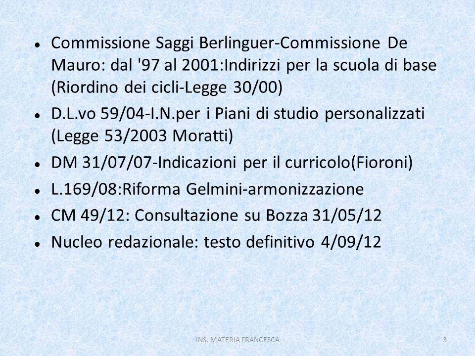 DM 31/07/07-Indicazioni per il curricolo(Fioroni)
