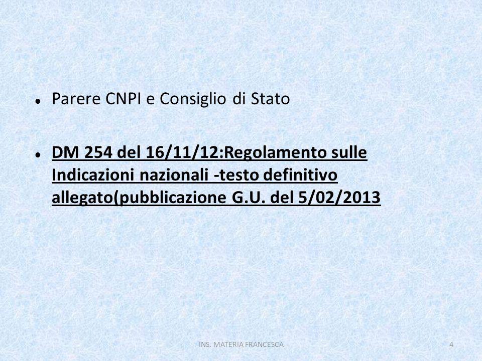 Parere CNPI e Consiglio di Stato