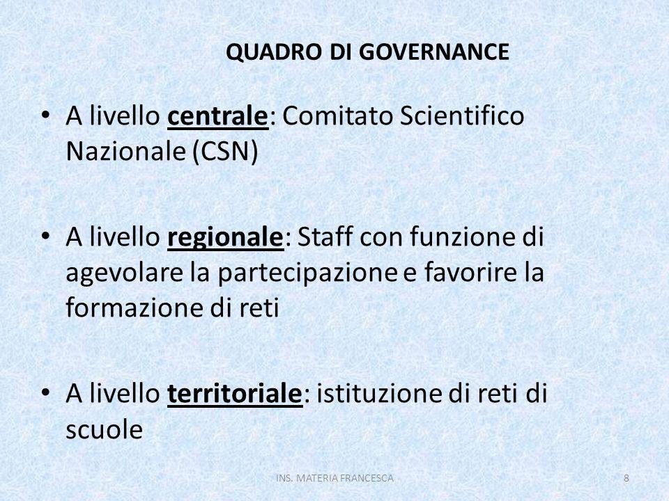 QUADRO DI GOVERNANCE A livello centrale: Comitato Scientifico Nazionale (CSN)