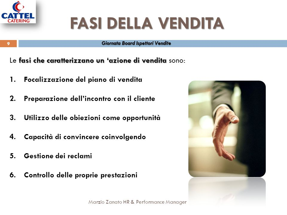 FASI DELLA VENDITA Giornata Board Ispettori Vendite. Le fasi che caratterizzano un 'azione di vendita sono: