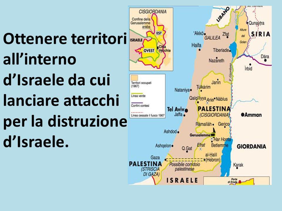 Ottenere territori all'interno d'Israele da cui lanciare attacchi per la distruzione d'Israele.