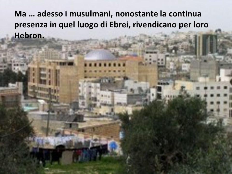 Ma … adesso i musulmani, nonostante la continua presenza in quel luogo di Ebrei, rivendicano per loro Hebron.