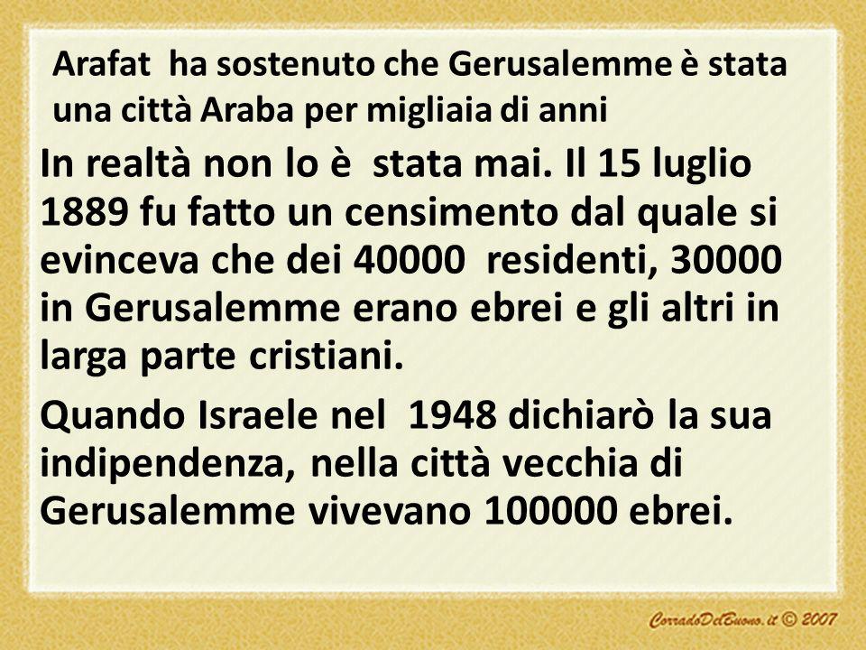 Arafat ha sostenuto che Gerusalemme è stata una città Araba per migliaia di anni