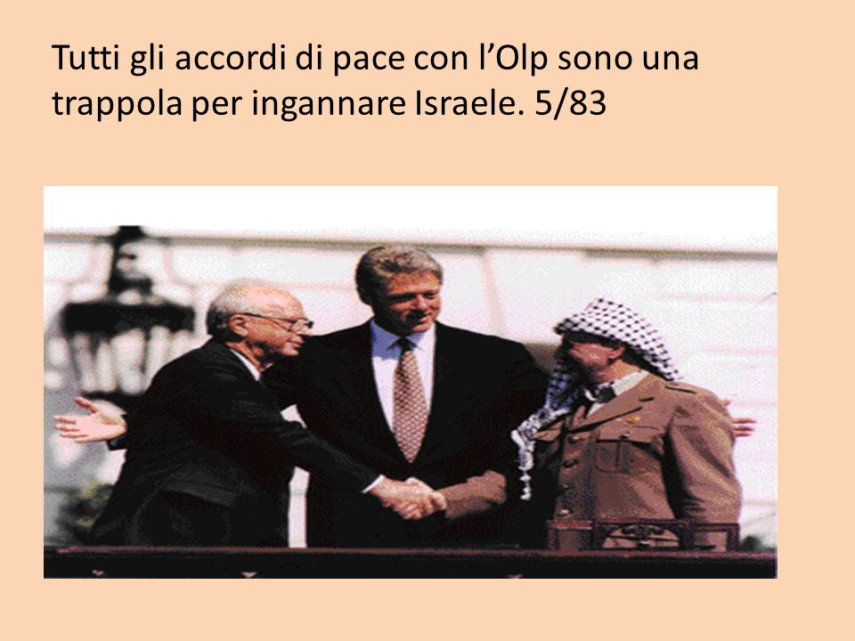 Tutti gli accordi di pace con l'Olp sono una trappola per ingannare Israele. 5/83