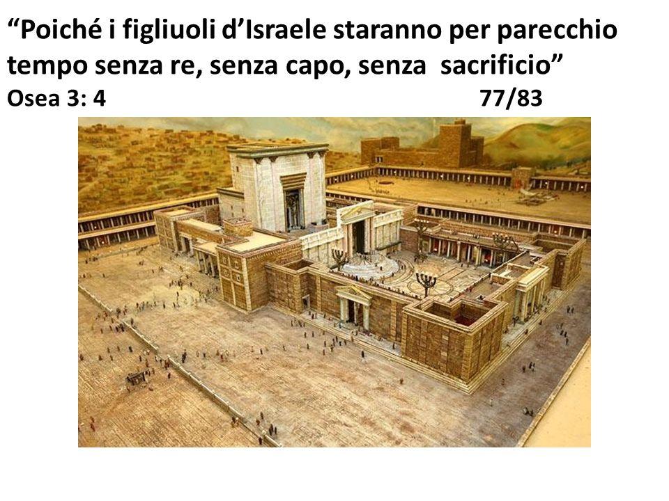 Poiché i figliuoli d'Israele staranno per parecchio tempo senza re, senza capo, senza sacrificio Osea 3: 4 77/83