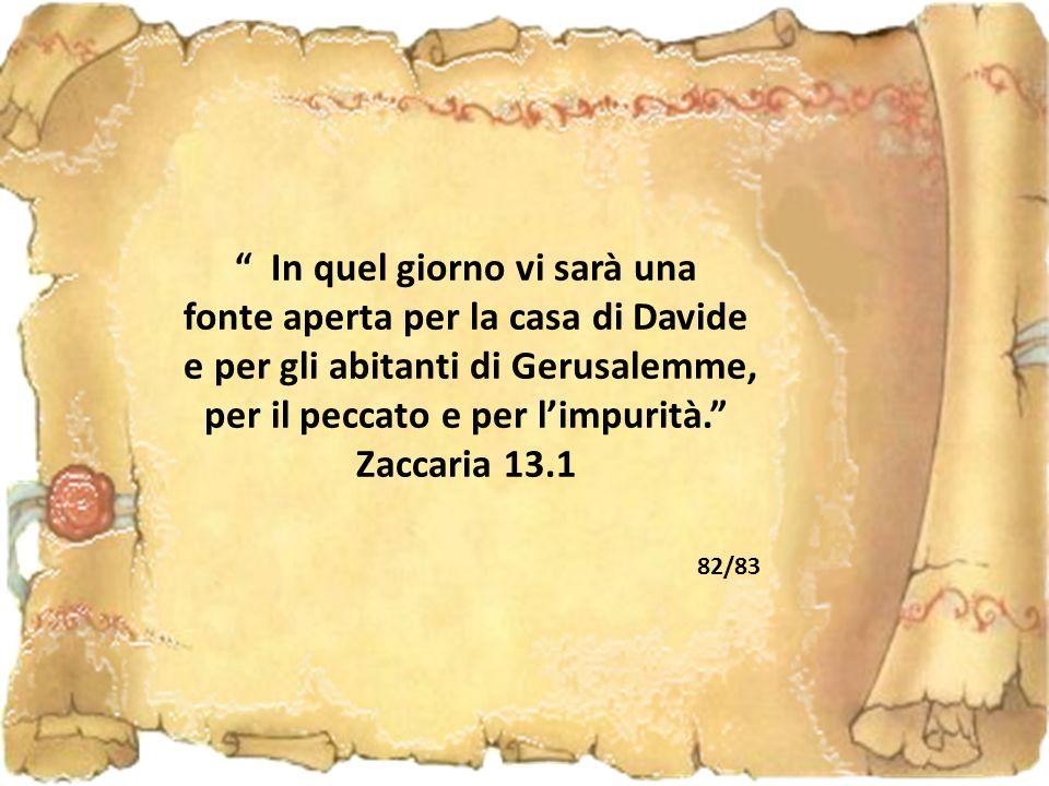 In quel giorno vi sarà una fonte aperta per la casa di Davide e per gli abitanti di Gerusalemme, per il peccato e per l'impurità. Zaccaria 13.1 82/83