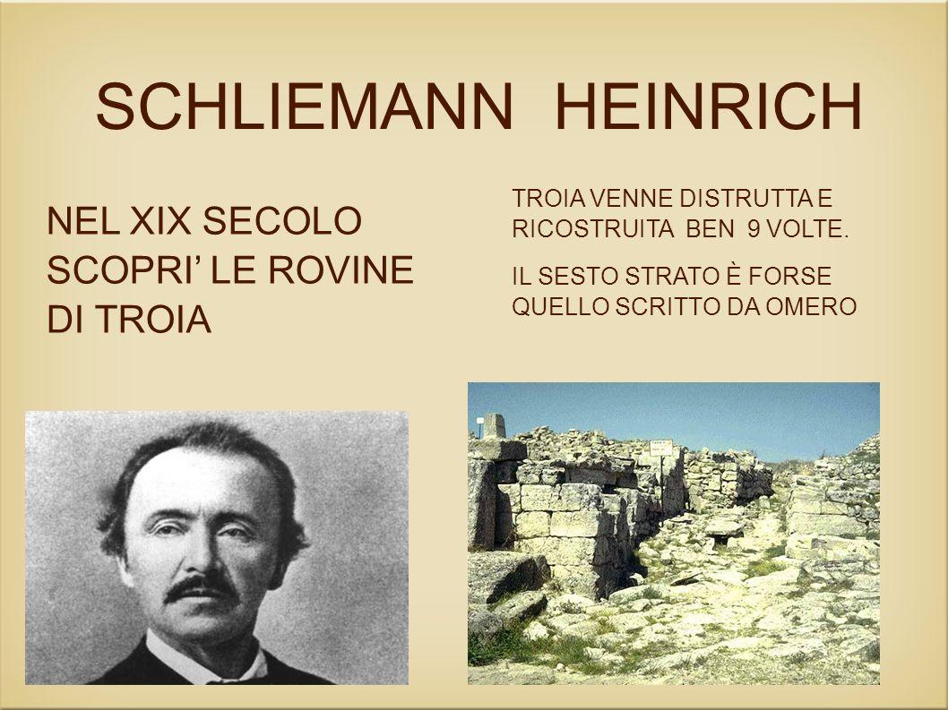 SCHLIEMANN HEINRICH NEL XIX SECOLO SCOPRI' LE ROVINE DI TROIA