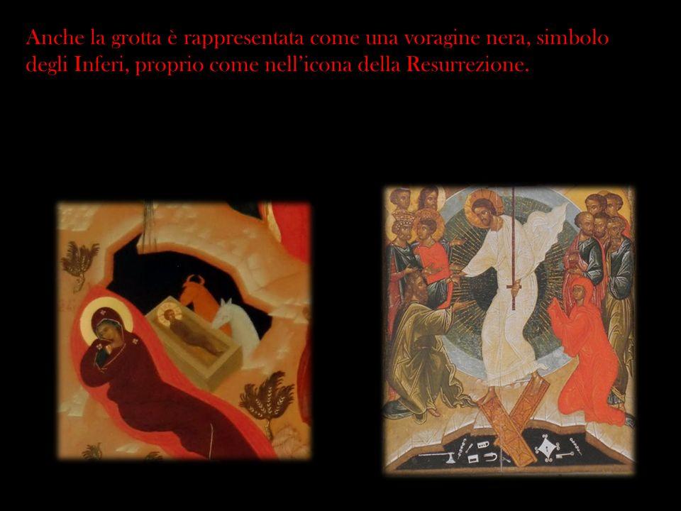 Anche la grotta è rappresentata come una voragine nera, simbolo degli Inferi, proprio come nell'icona della Resurrezione.