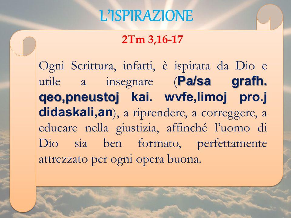 L'ISPIRAZIONE 2Tm 3,16-17.