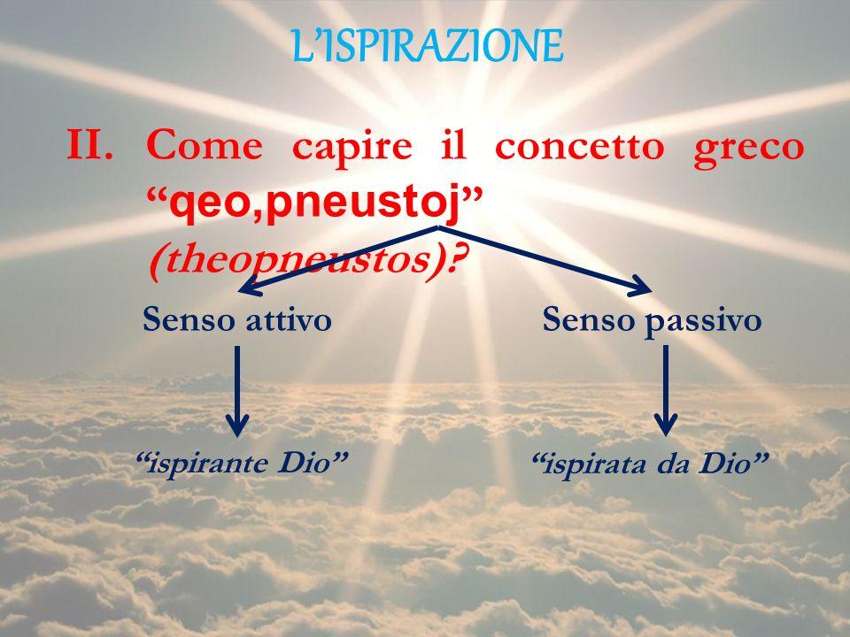 L'ISPIRAZIONE Come capire il concetto greco qeo,pneustoj (theopneustos) Senso attivo. Senso passivo.