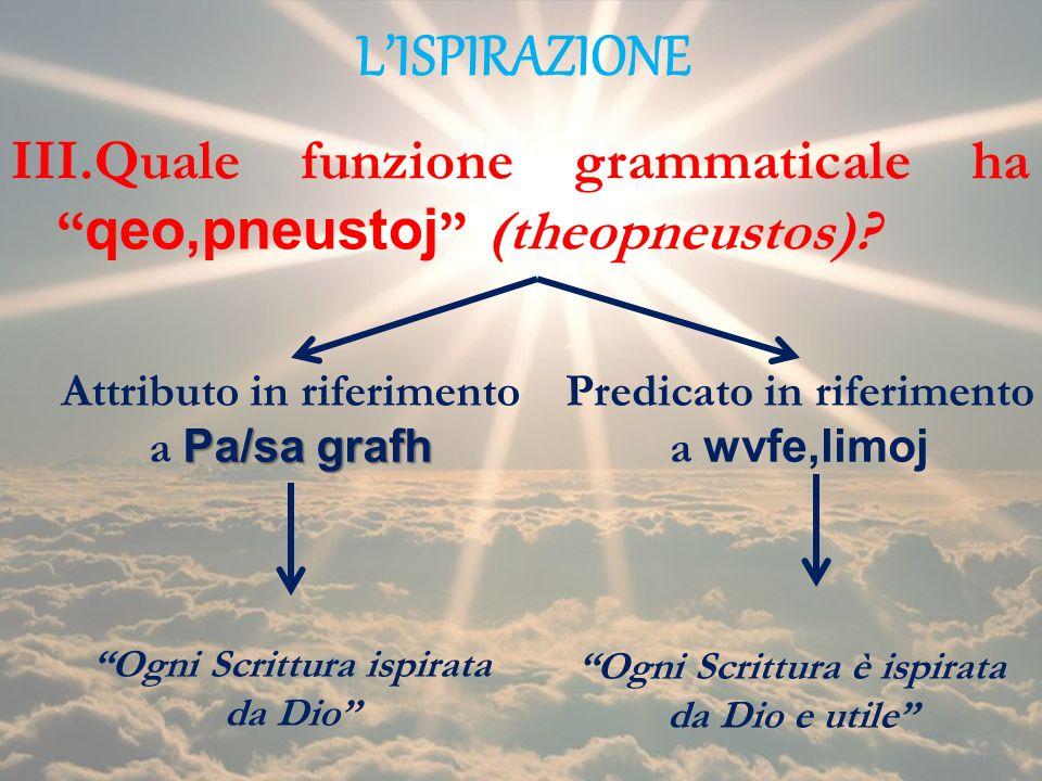 L'ISPIRAZIONE Quale funzione grammaticale ha qeo,pneustoj (theopneustos) Attributo in riferimento a Pa/sa grafh.
