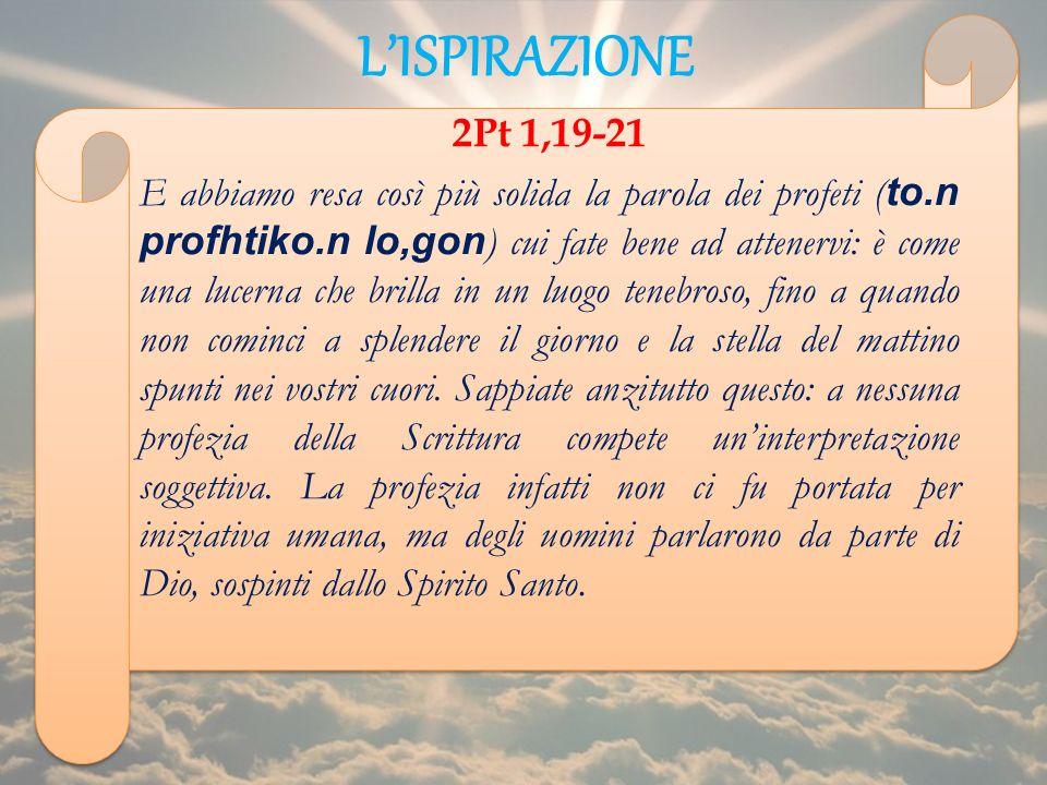 L'ISPIRAZIONE 2Pt 1,19-21.