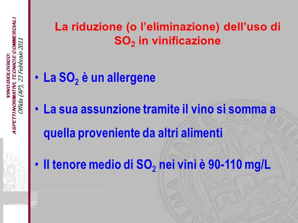 Il tenore medio di SO2 nei vini è 90-110 mg/L