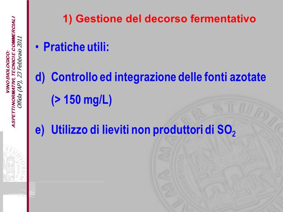 Controllo ed integrazione delle fonti azotate (> 150 mg/L)