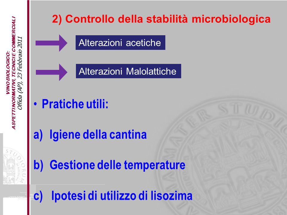Gestione delle temperature c) Ipotesi di utilizzo di lisozima