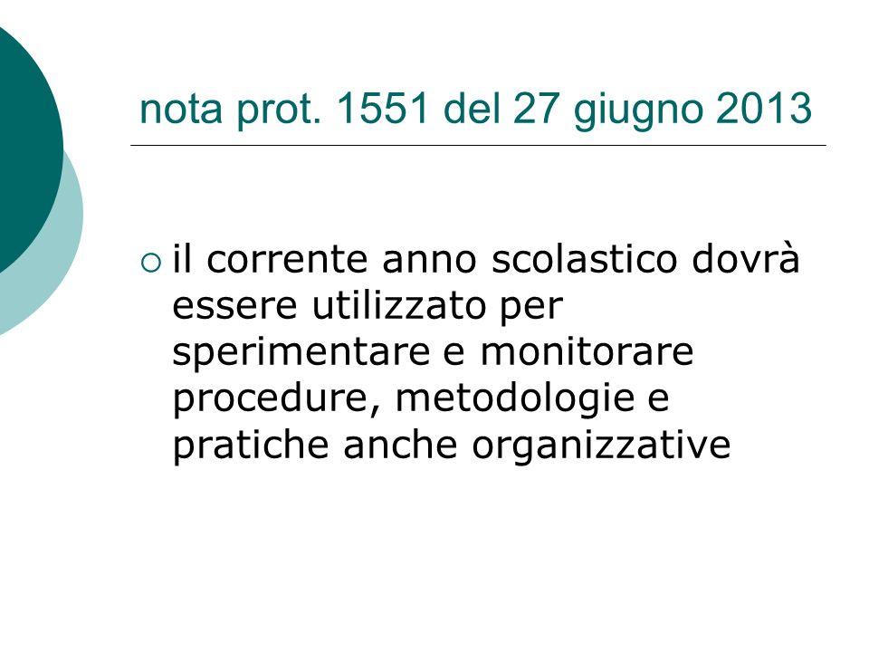 nota prot. 1551 del 27 giugno 2013