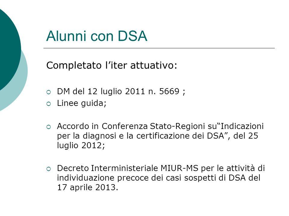 Alunni con DSA Completato l'iter attuativo: