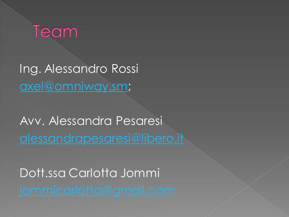 Team Ing. Alessandro Rossi axel@omniway.sm; Avv.