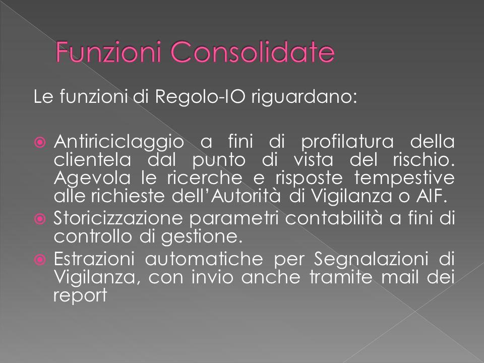 Funzioni Consolidate Le funzioni di Regolo-IO riguardano: