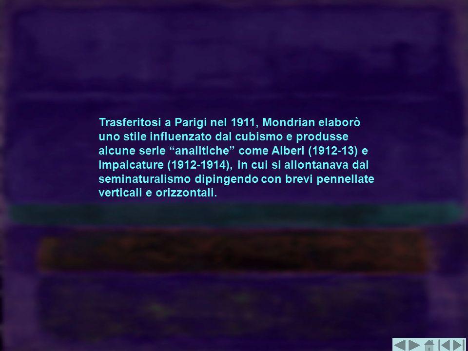 Trasferitosi a Parigi nel 1911, Mondrian elaborò uno stile influenzato dal cubismo e produsse alcune serie analitiche come Alberi (1912-13) e Impalcature (1912-1914), in cui si allontanava dal seminaturalismo dipingendo con brevi pennellate verticali e orizzontali.